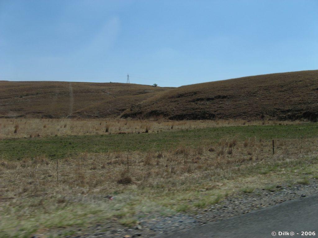 Sur le côté de la route, les plaines arides