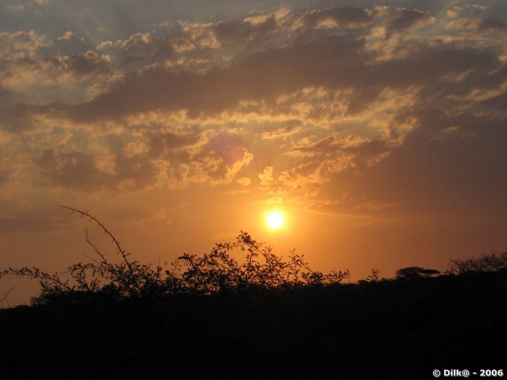 Coucher de soleil dans le Zulu Nyala Park