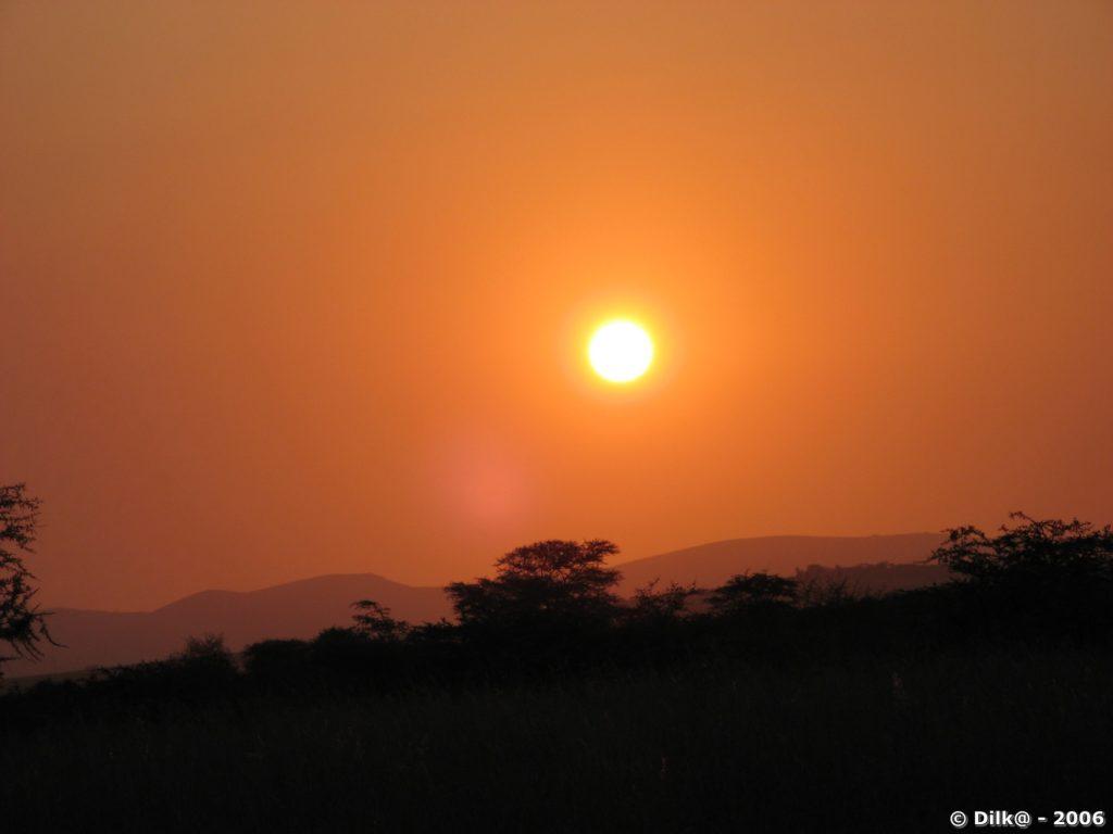 Coucher de soleil dans la savane