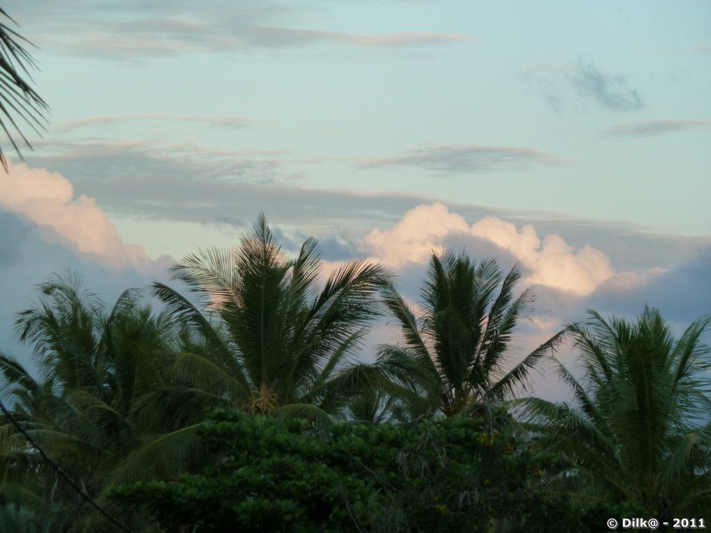 le lever du soleil depuis notre bungalow