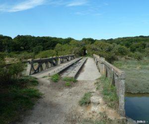 Sentier de randonnée sur un ancien pont de la voie ferrée