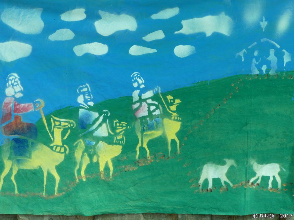 crèche au soda (peinte sur un mur)