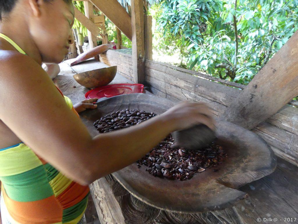 fèves de cacao concassées