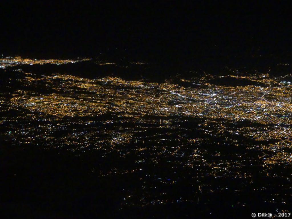 San José vu d'avion la nuit