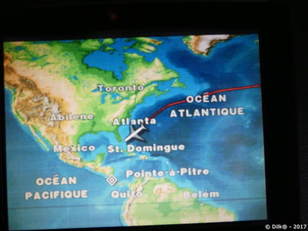 le trajet de l'avion de Paris à San José