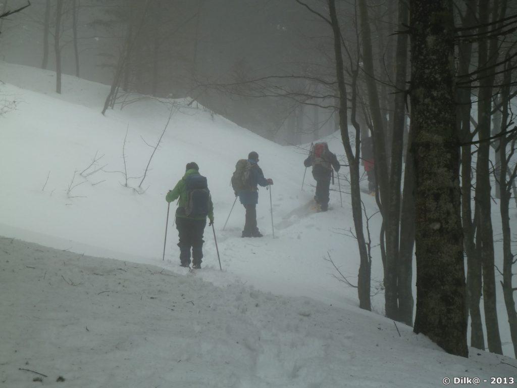 Le brouillard est épais quand nous commençons la montée