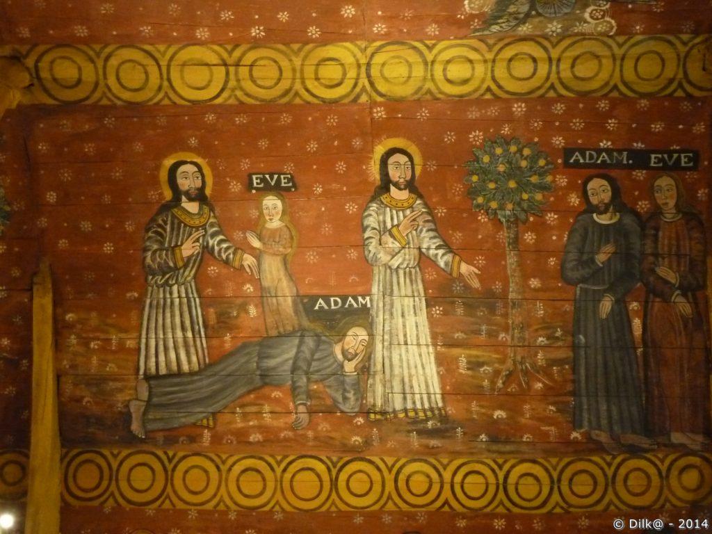 Les peintures représentent des scènes de l'ancien et du nouveau testament