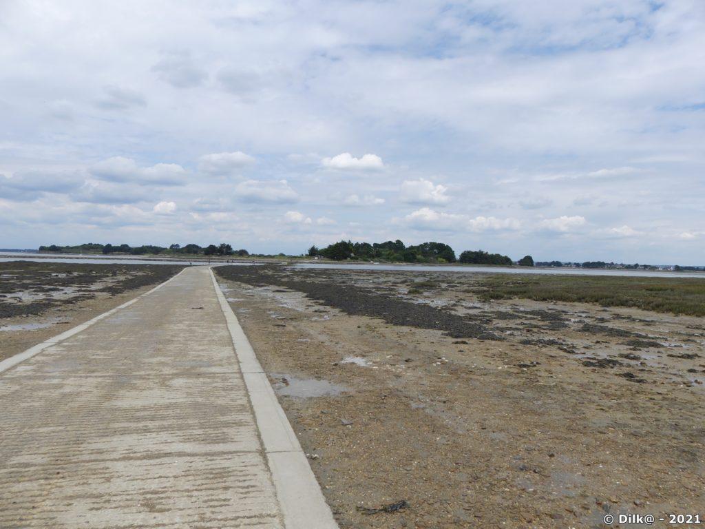Le passage empierré vers l'île Tascon est découvert à marée basse
